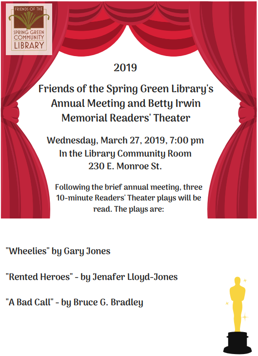 Friends Annual Meeting & 10-Minute Play Contest   Spring